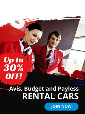 Up to 30% off. Avis, Badget, and Payless. Rental Cars.