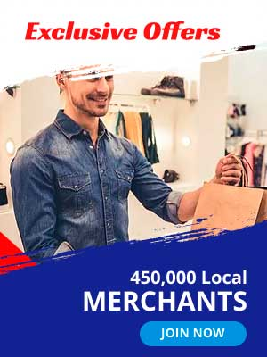 Exclusive offers. 450,000 Local Merchants.